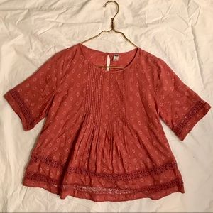 Old Navy Pink/Red Short Sleeve Blouse